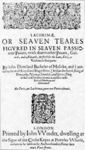Title page of John Dowland's Lachrimae or Seven Tears