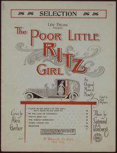 Sheet music for a selection of songs from the musical Poor Little Ritz Girl