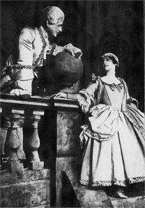 Marion Green and Maggie Teyte in a scene from the original London production of Andre Messager's operetta Monsieur Beaucaire