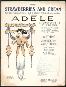 Poster for Jean Briquet, Adolph Philipp, Paul Hervé, Adolf Philipp & Edward A. Paulton's musical Adele