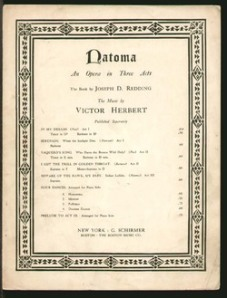 The sheet music for Victor Herbert's opera Natoma
