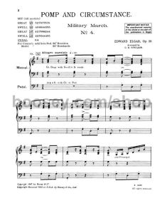 Sheet music for Edward Elgar's Pomp and Circumstance March no.4 op.39/4