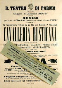 Poster for Parma opening of Mascagni's Cavalleria Rusticana in January 1891
