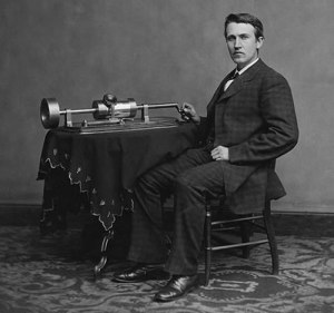 Thomas Edison 1847-1931 with his 1877 phonograph
