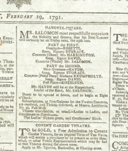 Announcement of a Joseph Haydn concert in London, form The World newspaper 19/2/1791