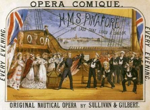 "Contemporary poster for Gilbert & Sullivan's ""HMS Pinafore"""