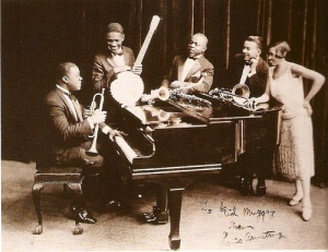 Louis Armstrong's Hot Five (l-r: Louis Armstrong, Johnny St. Cyr, Johnny Dodds, Kid Ory, Lil Hardin)