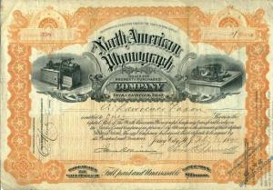 Original share certificate for the North American Phonograph Company