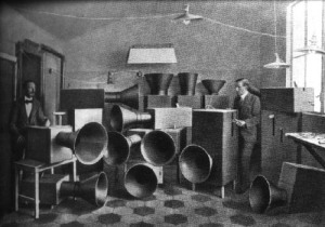 Luigi Russolo 1885-1947 with his 'mechanical orchestra'