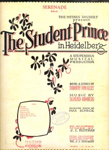 "Sheet music for ""Serenade"" from the musical The Student Prince"